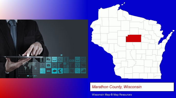 information technology concepts; Marathon County, Wisconsin highlighted in red on a map