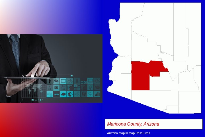 information technology concepts; Maricopa County, Arizona highlighted in red on a map