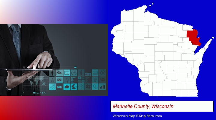 information technology concepts; Marinette County, Wisconsin highlighted in red on a map