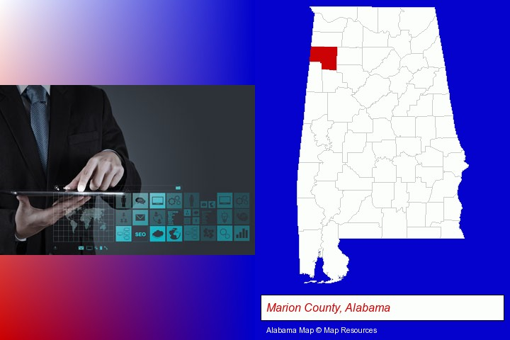 information technology concepts; Marion County, Alabama highlighted in red on a map