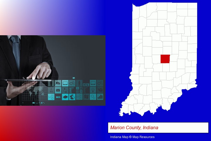 information technology concepts; Marion County, Indiana highlighted in red on a map