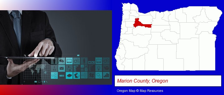 information technology concepts; Marion County, Oregon highlighted in red on a map