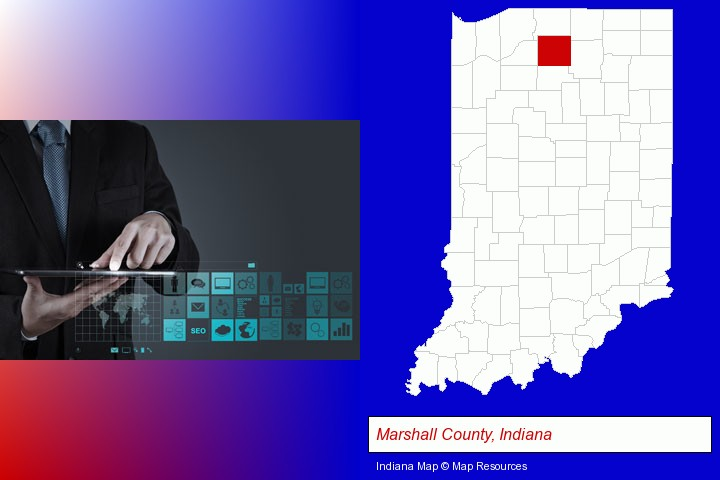 information technology concepts; Marshall County, Indiana highlighted in red on a map
