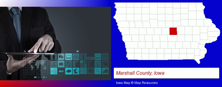 information technology concepts; Marshall County, Iowa highlighted in red on a map