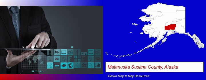 information technology concepts; Matanuska Susitna County, Alaska highlighted in red on a map