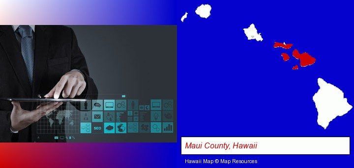 information technology concepts; Maui County, Hawaii highlighted in red on a map