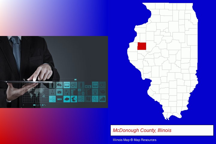 information technology concepts; McDonough County, Illinois highlighted in red on a map