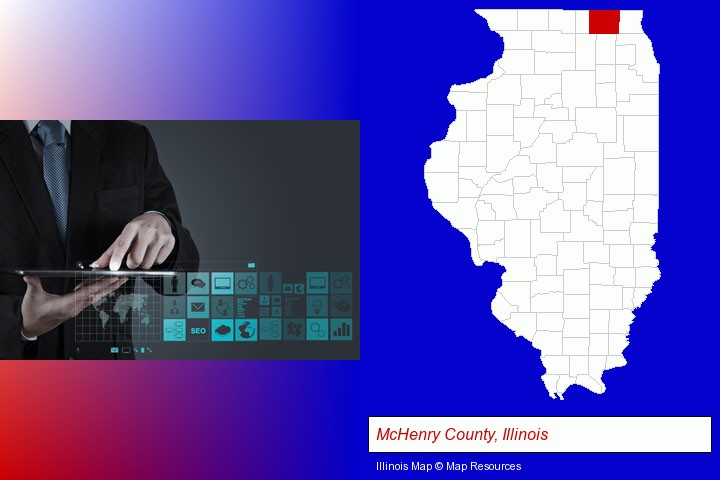 information technology concepts; McHenry County, Illinois highlighted in red on a map