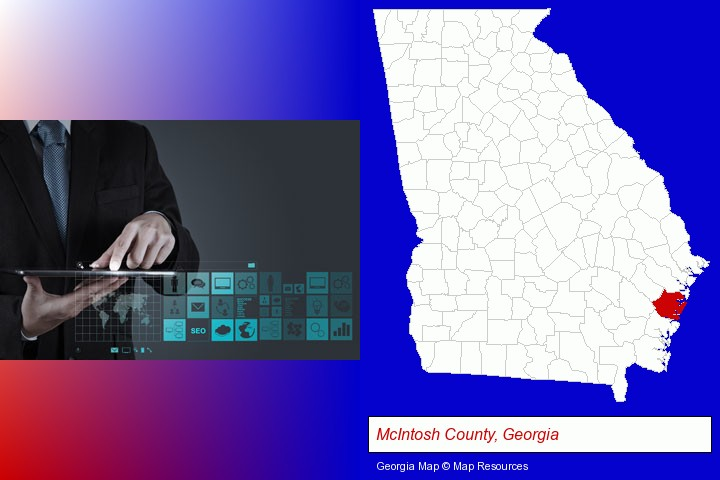 information technology concepts; McIntosh County, Georgia highlighted in red on a map