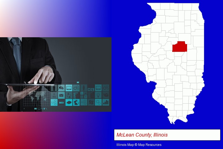 information technology concepts; McLean County, Illinois highlighted in red on a map