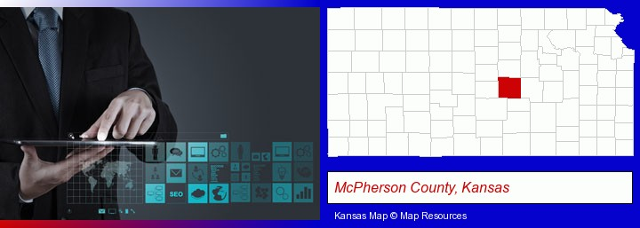 information technology concepts; McPherson County, Kansas highlighted in red on a map