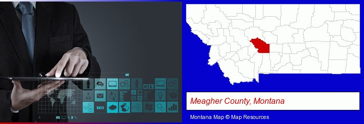 information technology concepts; Meagher County, Montana highlighted in red on a map