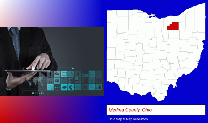 information technology concepts; Medina County, Ohio highlighted in red on a map