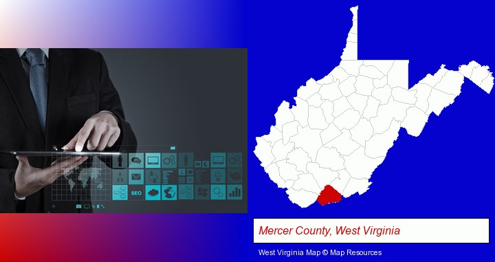 information technology concepts; Mercer County, West Virginia highlighted in red on a map