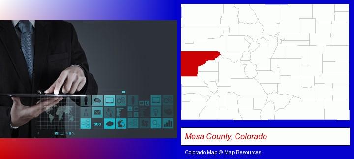 information technology concepts; Mesa County, Colorado highlighted in red on a map