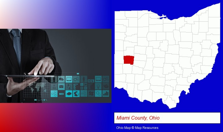 information technology concepts; Miami County, Ohio highlighted in red on a map