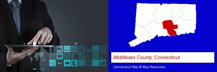 information technology concepts; Middlesex County, Connecticut highlighted in red on a map