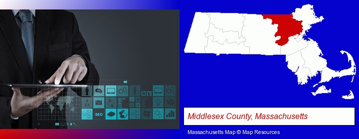 information technology concepts; Middlesex County, Massachusetts highlighted in red on a map