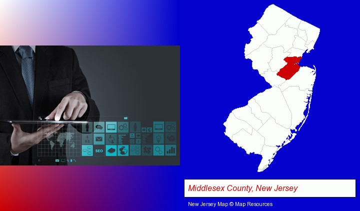 information technology concepts; Middlesex County, New Jersey highlighted in red on a map