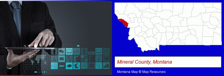 information technology concepts; Mineral County, Montana highlighted in red on a map