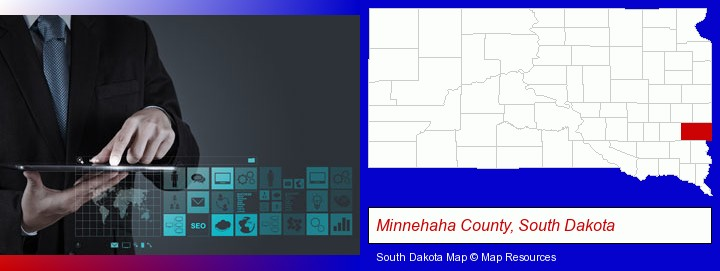 information technology concepts; Minnehaha County, South Dakota highlighted in red on a map