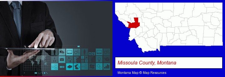 information technology concepts; Missoula County, Montana highlighted in red on a map