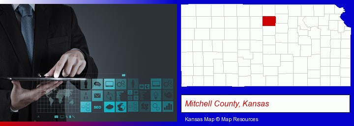 information technology concepts; Mitchell County, Kansas highlighted in red on a map