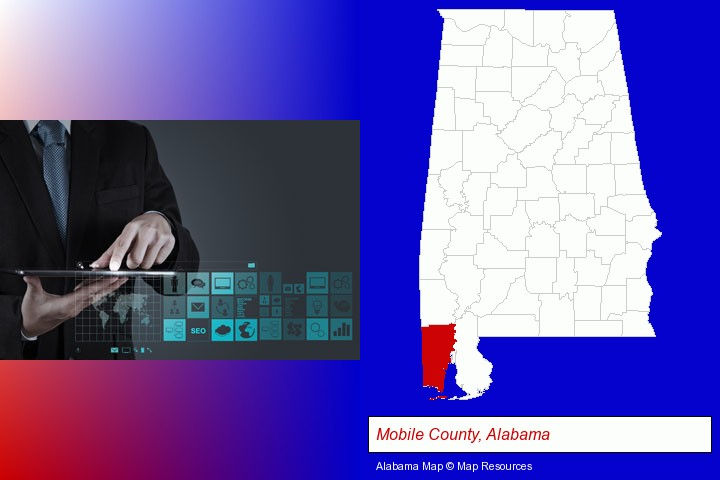 information technology concepts; Mobile County, Alabama highlighted in red on a map