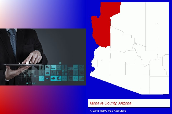 information technology concepts; Mohave County, Arizona highlighted in red on a map