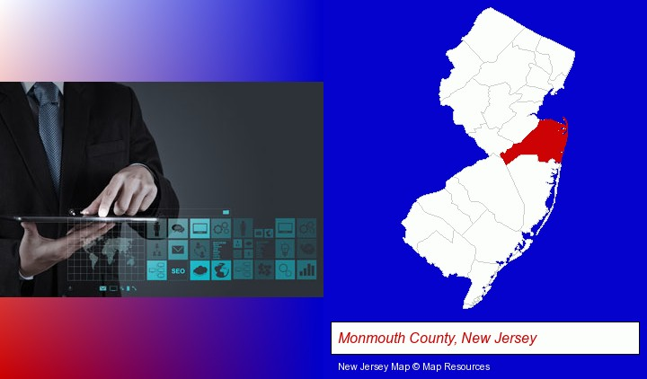 information technology concepts; Monmouth County, New Jersey highlighted in red on a map