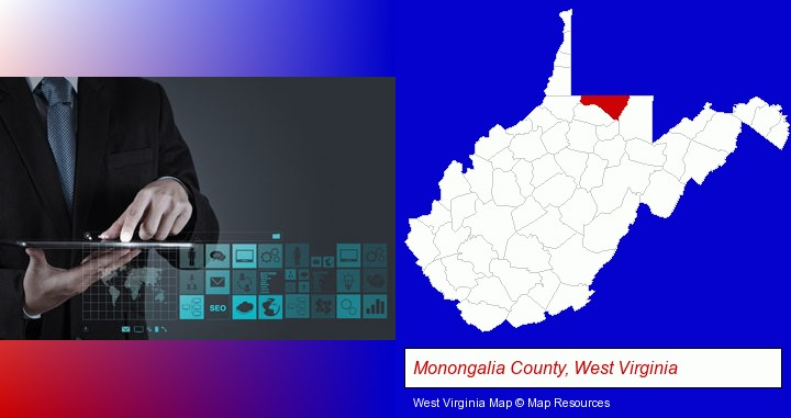 information technology concepts; Monongalia County, West Virginia highlighted in red on a map