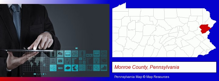 information technology concepts; Monroe County, Pennsylvania highlighted in red on a map