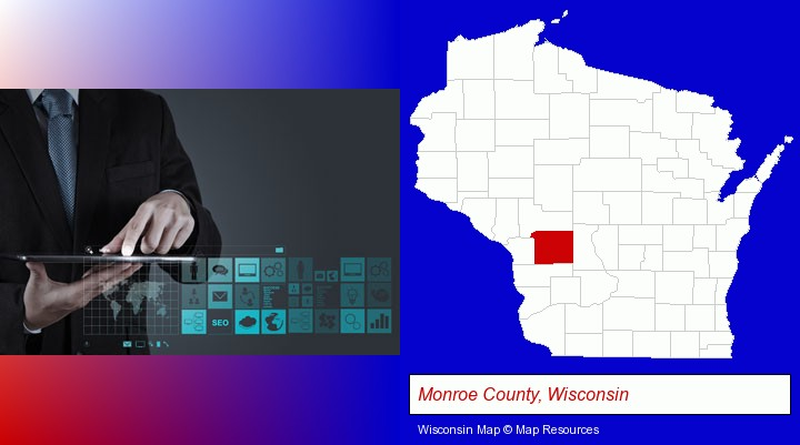 information technology concepts; Monroe County, Wisconsin highlighted in red on a map