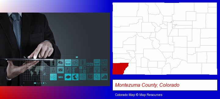 information technology concepts; Montezuma County, Colorado highlighted in red on a map