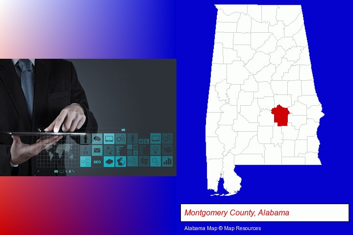 information technology concepts; Montgomery County, Alabama highlighted in red on a map