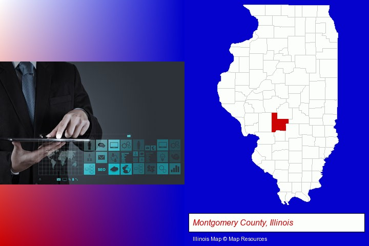 information technology concepts; Montgomery County, Illinois highlighted in red on a map