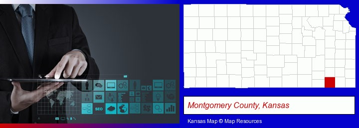information technology concepts; Montgomery County, Kansas highlighted in red on a map