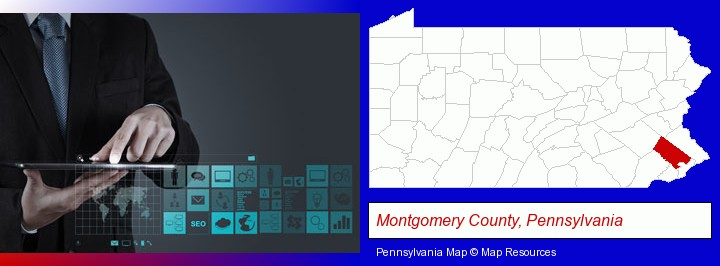 information technology concepts; Montgomery County, Pennsylvania highlighted in red on a map