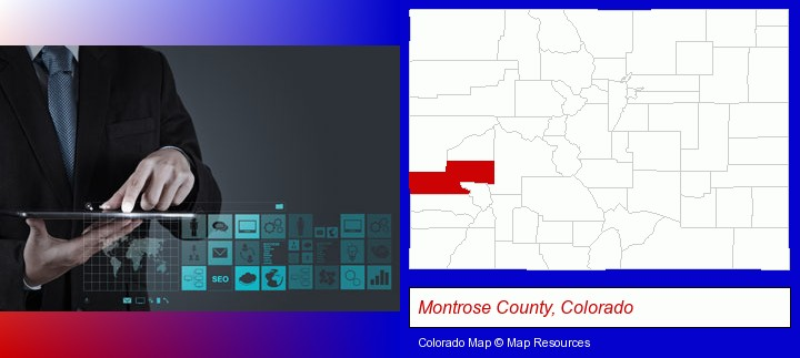 information technology concepts; Montrose County, Colorado highlighted in red on a map