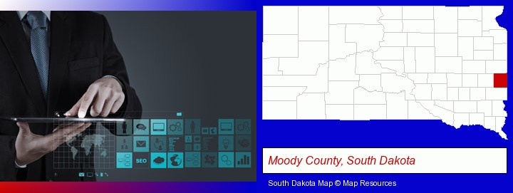 information technology concepts; Moody County, South Dakota highlighted in red on a map