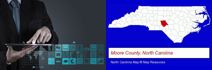 information technology concepts; Moore County, North Carolina highlighted in red on a map