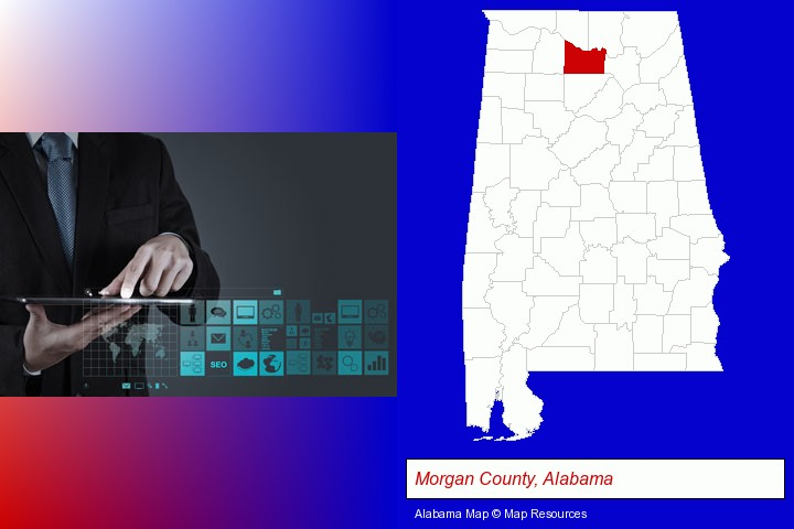information technology concepts; Morgan County, Alabama highlighted in red on a map
