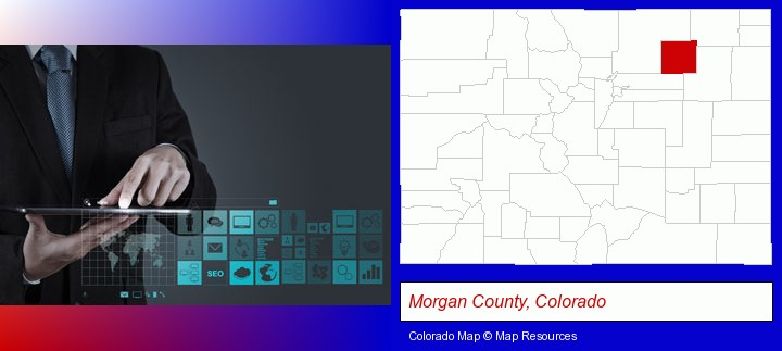 information technology concepts; Morgan County, Colorado highlighted in red on a map