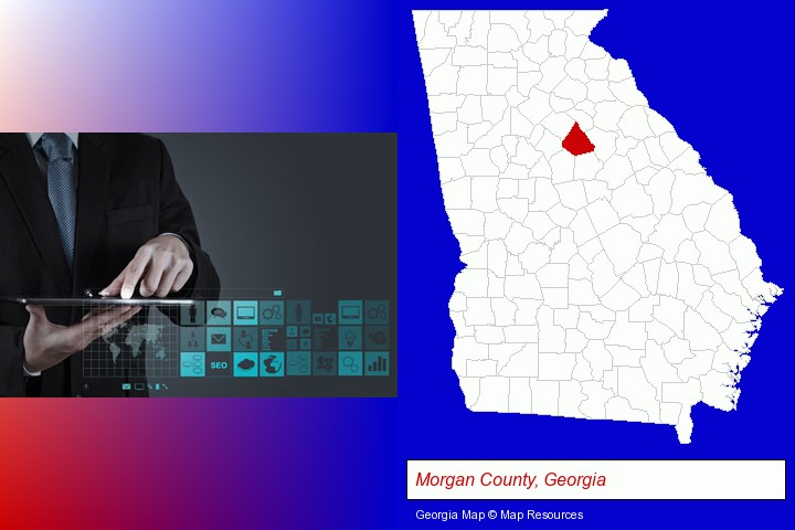 information technology concepts; Morgan County, Georgia highlighted in red on a map