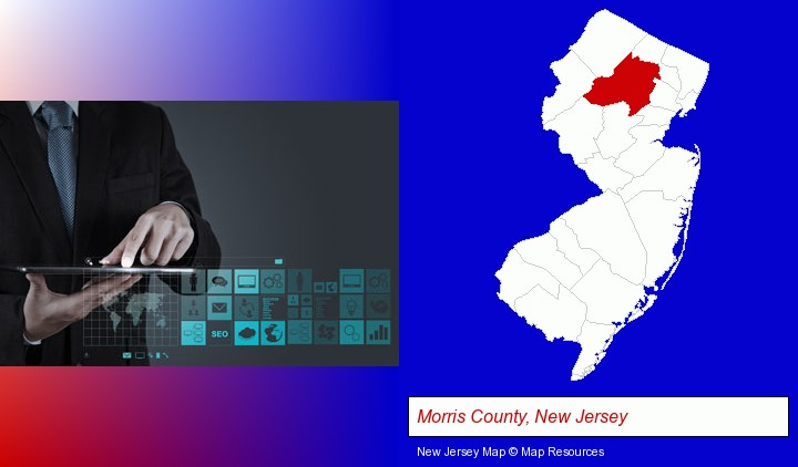 information technology concepts; Morris County, New Jersey highlighted in red on a map