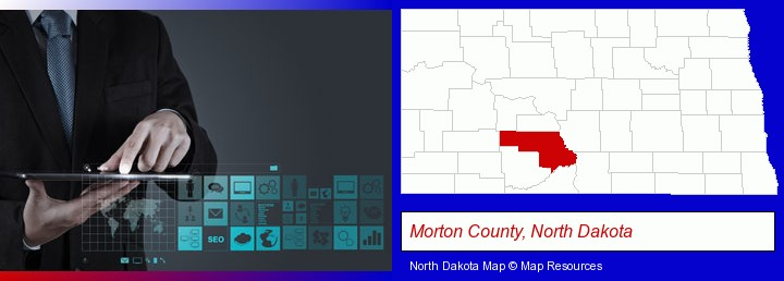 information technology concepts; Morton County, North Dakota highlighted in red on a map