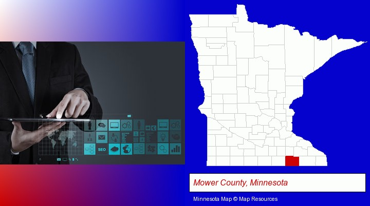 information technology concepts; Mower County, Minnesota highlighted in red on a map