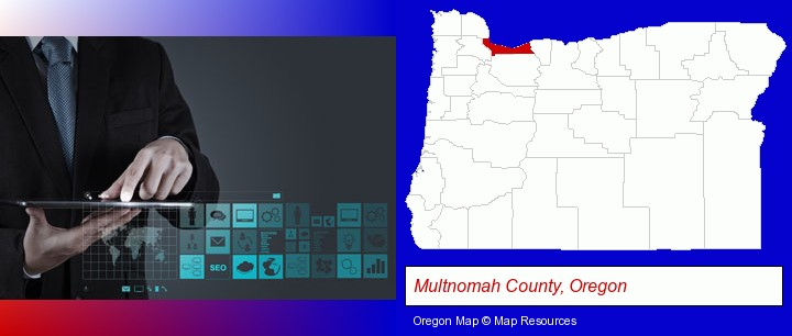 information technology concepts; Multnomah County, Oregon highlighted in red on a map