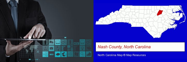 information technology concepts; Nash County, North Carolina highlighted in red on a map