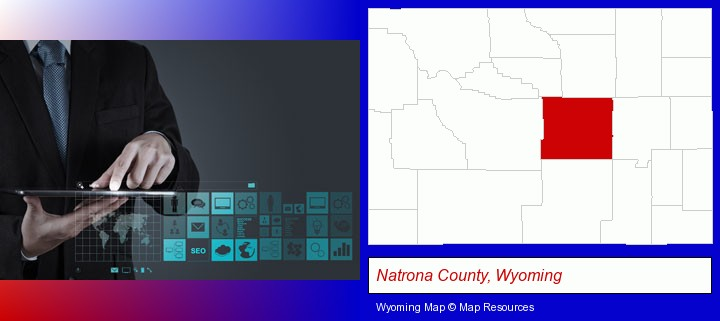 information technology concepts; Natrona County, Wyoming highlighted in red on a map